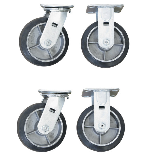 """Wesco Industrial Products 273612 6"""" x 2"""" 2000 lb. Capacity Moldon Rubber on Aluminum Hub Swivel and Rigid Caster Set for Platform Truck - 4/Set"""