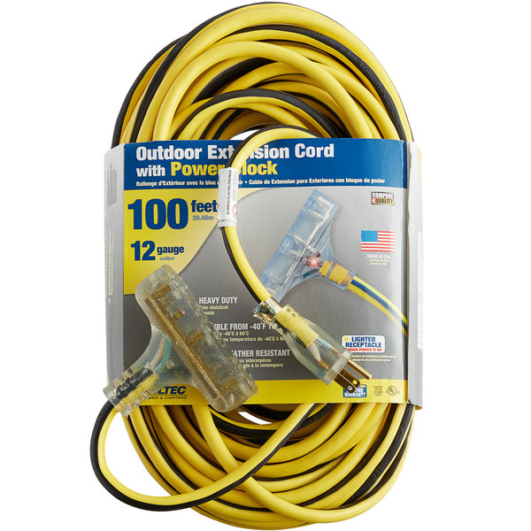 Orange with Black Stripe Voltec 05-00120 14//3 SJTW Outdoor Power Block Extension Cord with Lighted End 25-Foot