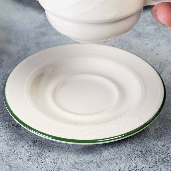 "Homer Laughlin 1569615 Lydia Green 5 1/2"" Off White China Saucer - 36/Case"