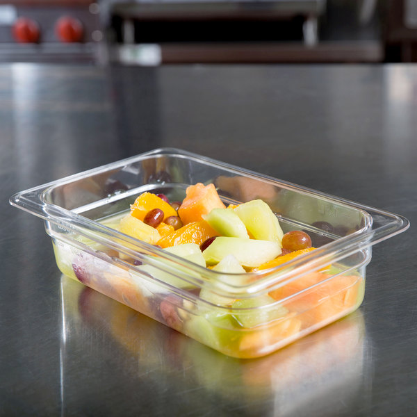 """1/4 Size Clear Polycarbonate Food Pan - 2 1/2"""" Deep"""