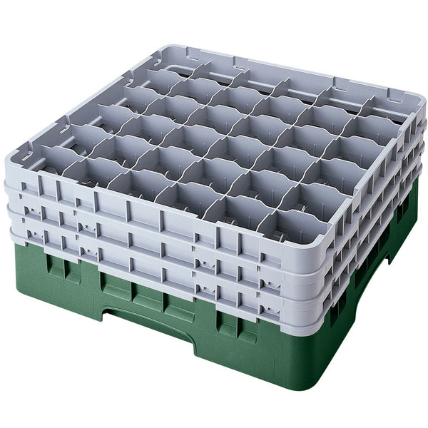 "Cambro 36S958119 Sherwood Green Camrack Customizable 36 Compartment 10 1/8"" Glass Rack Main Image 1"