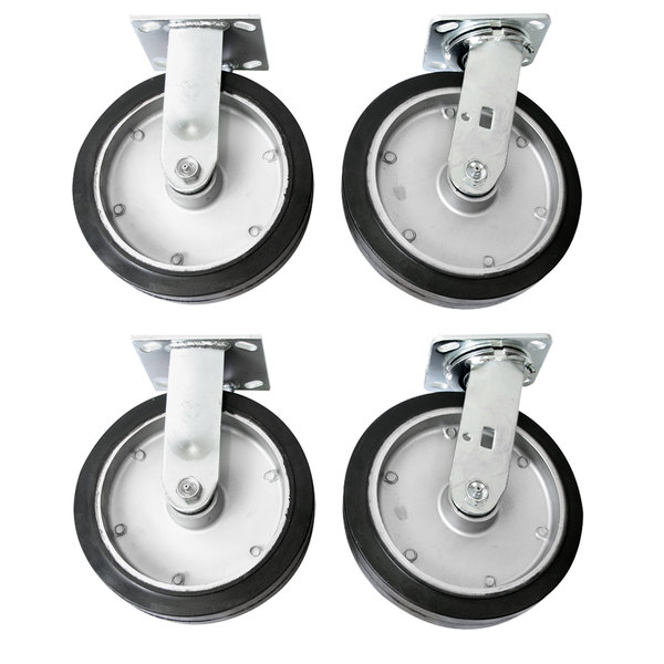 """Wesco Industrial Products 250053 8"""" x 2"""" 2400 lb. Capacity Moldon Rubber Swivel and Rigid Caster Set for ATP and ASD Series Platform Trucks - 4/Set Main Image 1"""