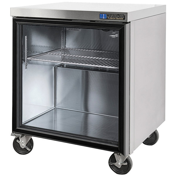 """Master-Bilt MBURG27A-011 27"""" Fusion Undercounter Refrigerator with Left-Hinged Glass Door and 6"""" Casters"""