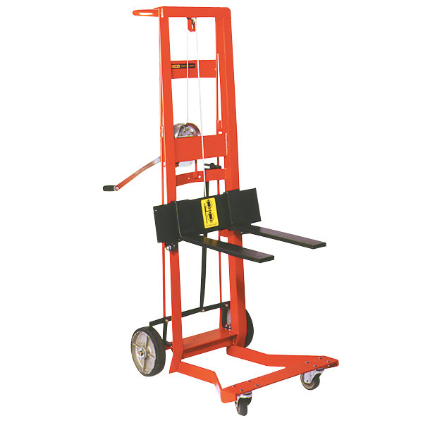 """Wesco Industrial Products 260024 750 lb. 4 Wheel Steel Winch Pedalift with 3"""" x 18"""" Forks and 54"""" Lift Height Main Image 1"""