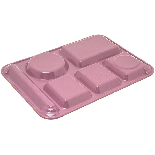 Rose Granite Carlisle 4398193 Left-Hand Heavy Weight 6-Compartment Caf/é Tray Melamine