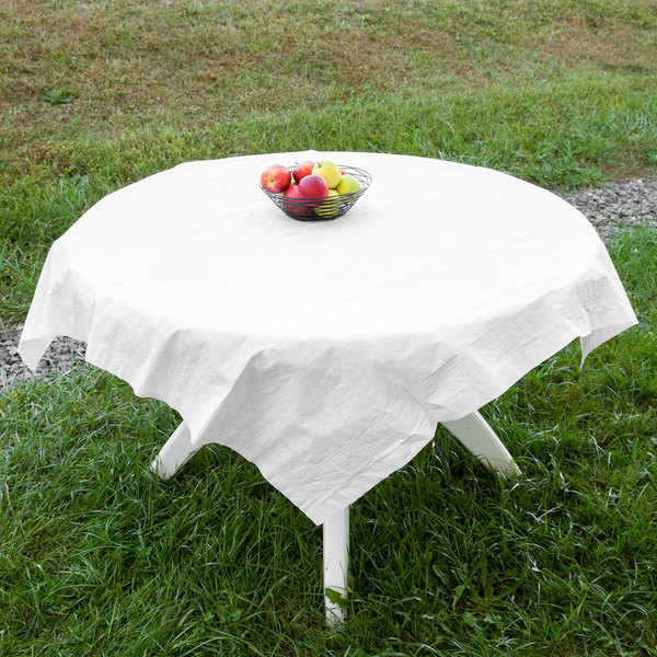 """Hoffmaster 210046 54"""" x 54"""" Cellutex White Tissue / Poly Paper Table Cover - 50/Case"""