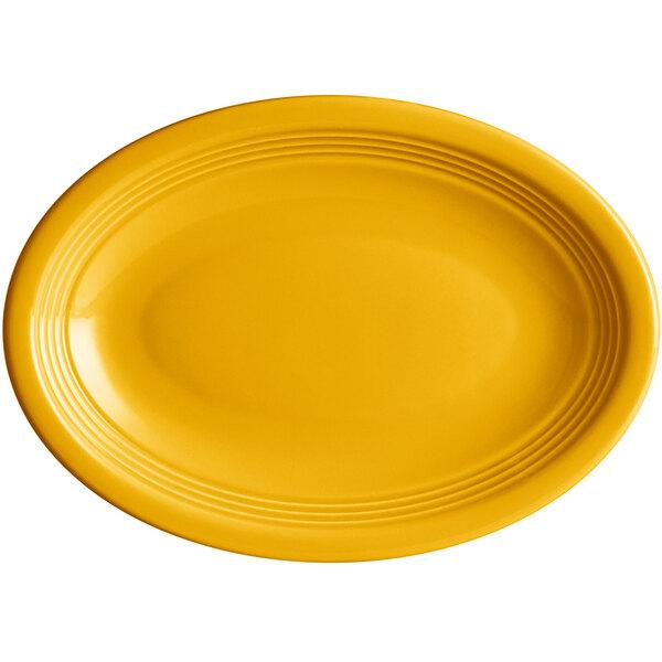 """Acopa Capri 9 3/4"""" x 7"""" Mango Orange Oval China Coupe Platter - 12/Case Main Image 1"""