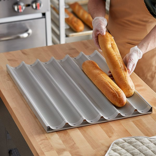 "Baker's Mark 6 Loaf Glazed Aluminum Baguette / French Bread Pan - 26"" x 2 7/16"" x 1"" Compartments Main Image 2"