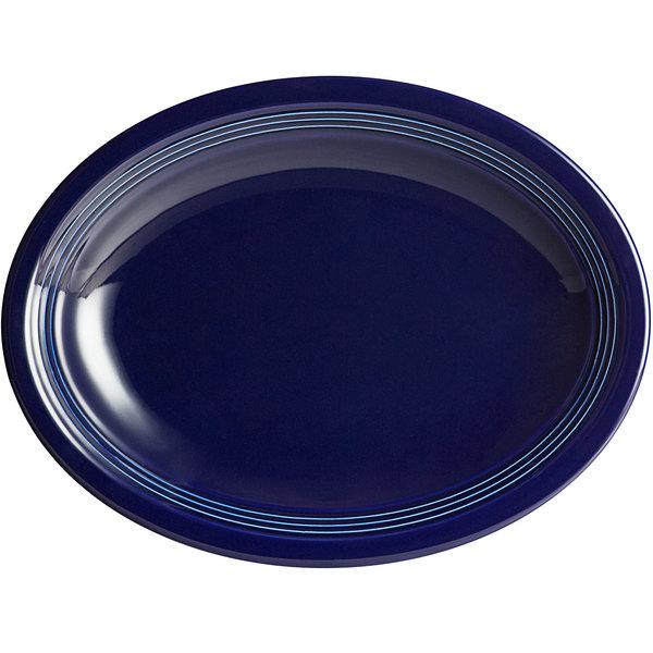 "Acopa Capri 11 1/2"" x 8 3/4"" Deep Sea Cobalt Oval China Coupe Platter - 12/Case Main Image 1"