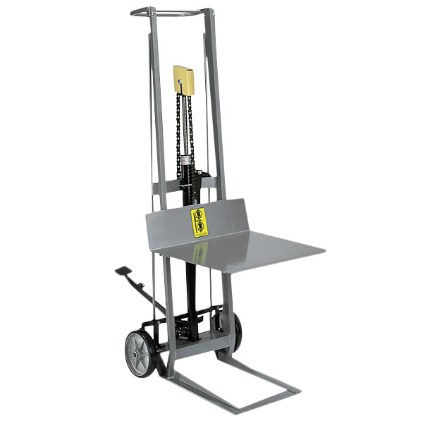 """Wesco Industrial Products 260005 400 lb. 2 Wheel Aluminum Hydraulic Pedalift with 22"""" x 20"""" Platform and 54"""" Lift Height Main Image 1"""