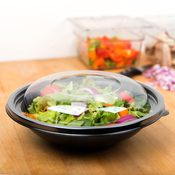 Sabert 52048A100 FreshPack Clear Dome Lid for Shallow 24 and 32 oz. Bowls, Round 48 oz. Bowls - 100/Case Main Image 3