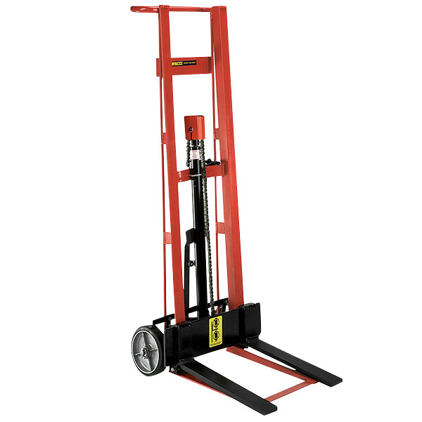 "Wesco Industrial Products 260007 750 lb. 2 Wheel Steel Hydraulic Pedalift with 3"" x 18"" Forks and 54"" Lift Height Main Image 1"