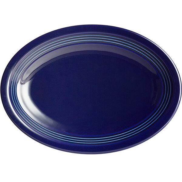 "Acopa Capri 9 3/4"" x 7"" Deep Sea Cobalt Oval China Coupe Platter - 12/Case Main Image 1"