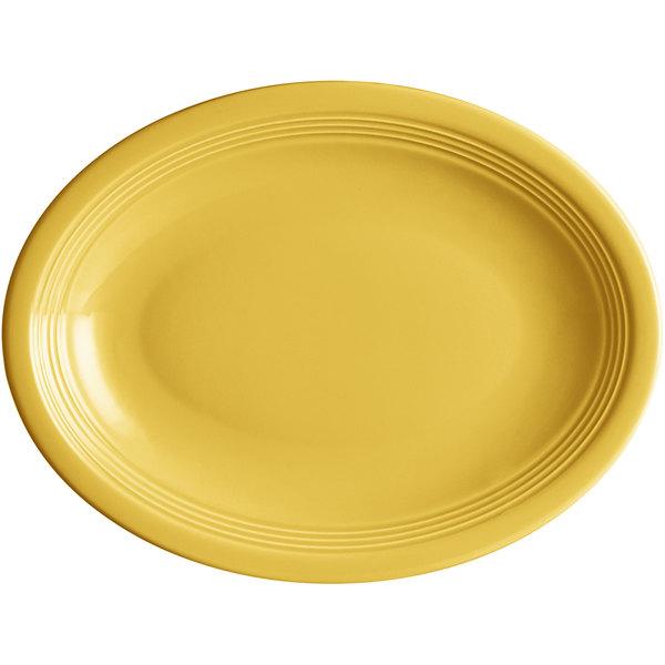 "Acopa Capri 11 1/2"" x 8 3/4"" Citrus Yellow Oval China Coupe Platter - 12/Case Main Image 1"