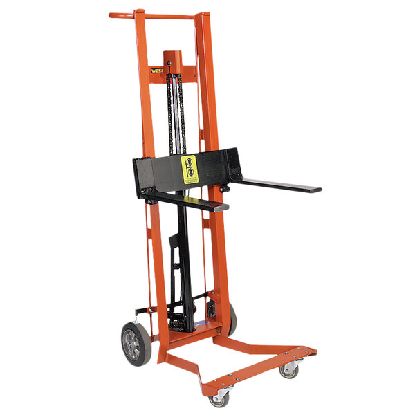 "Wesco Industrial Products 260011 750 lb. 4 Wheel Hydraulic Pedalift with 3"" x 18"" Forks and 40"" Lift Height Main Image 1"