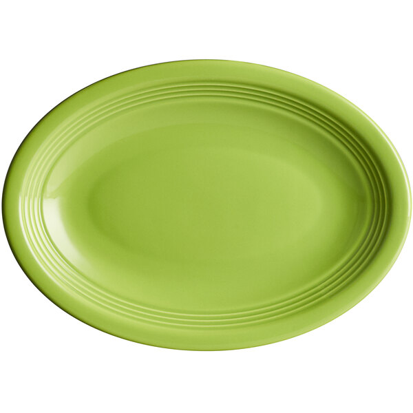 "Acopa Capri 9 3/4"" x 7"" Bamboo Green Oval China Coupe Platter - 12/Case Main Image 1"
