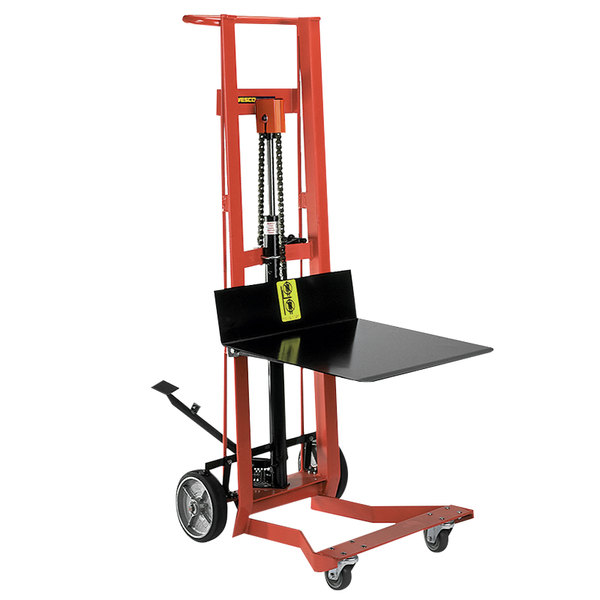 "Wesco Industrial Products 260008 750 lb. 4 Wheel Hydraulic Pedalift with 20"" x 16"" Platform and 40"" Lift Height Main Image 1"