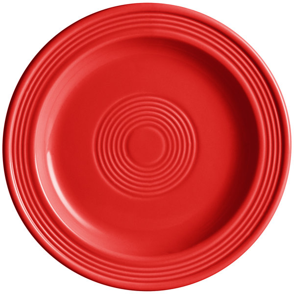 "Acopa Capri 7"" Passion Fruit Red China Plate - 24/Case Main Image 1"