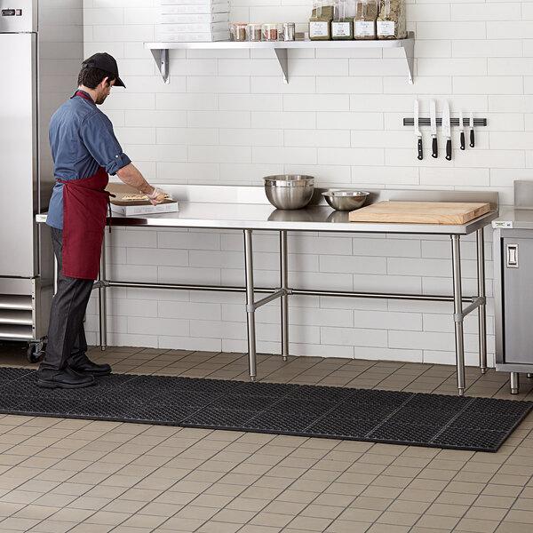 "Regency 30"" x 96"" 14-Gauge 304 Stainless Steel Commercial Open Base Work Table with 4"" Backsplash Main Image 4"