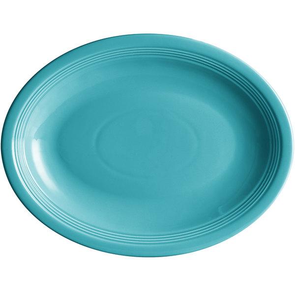 "Acopa Capri 13 3/4"" x 10 1/2"" Caribbean Turquoise Oval China Coupe Platter - 12/Case Main Image 1"
