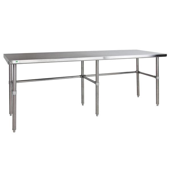 "Regency 24"" x 96"" 14-Gauge 304 Stainless Steel Commercial Open Base Work Table Main Image 1"