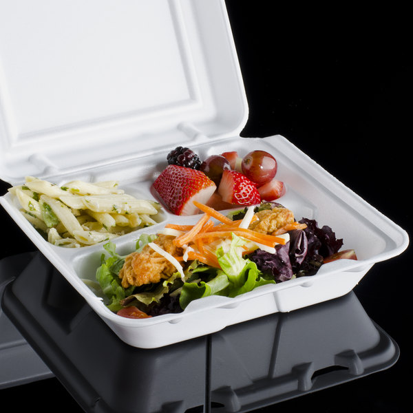 """Dart 80HT3R 8"""" x 7 1/2"""" x 2"""" White Foam 3 Compartment Hinged Lid Container - 100/Pack"""