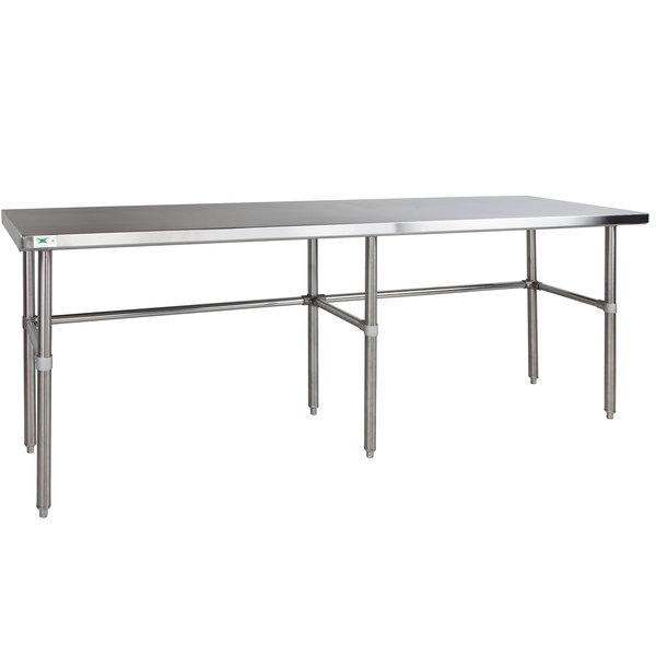 "Regency 24"" x 120"" 14-Gauge 304 Stainless Steel Commercial Open Base Work Table Main Image 1"