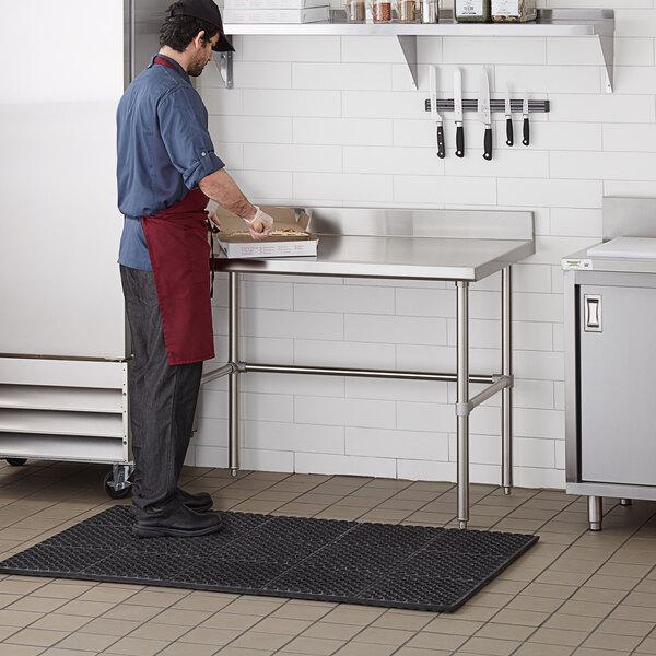 "Regency 30"" x 48"" 14-Gauge 304 Stainless Steel Commercial Open Base Work Table with 4"" Backsplash Main Image 4"