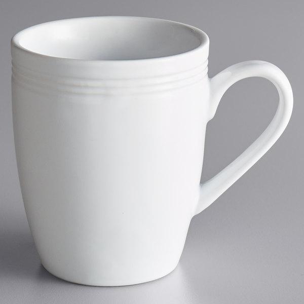Acopa Capri 12 oz. Coconut White China Mug - 24/Case Main Image 1