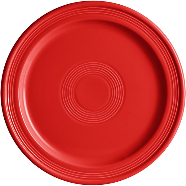 "Acopa Capri 10"" Passion Fruit Red China Plate - 12/Case Main Image 1"