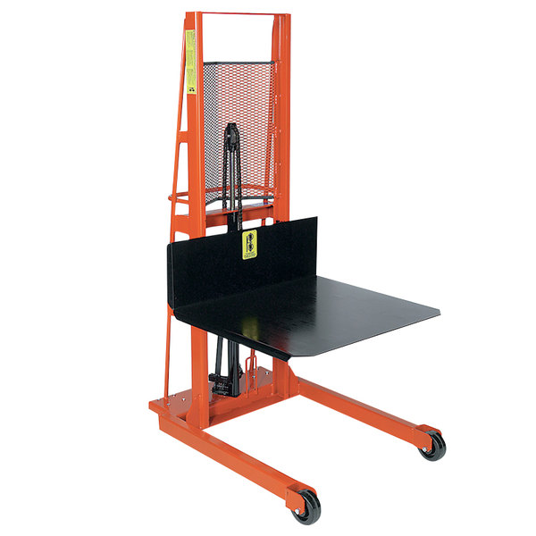 """Wesco Industrial Products 260050 Economy Series 1000 lb. Hydraulic Large Platform Stacker with 32"""" x 30"""" Platform and 60"""" Lift Height Main Image 1"""