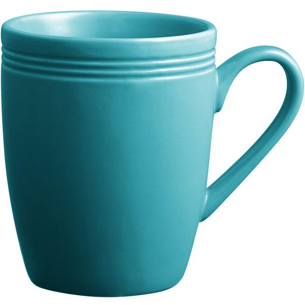 Acopa Capri 12 oz. Caribbean Turquoise China Mug - 24/Case Main Image 1