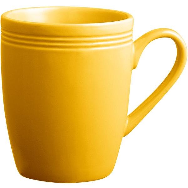 Acopa Capri 12 oz. Mango Orange China Mug - 24/Case Main Image 1
