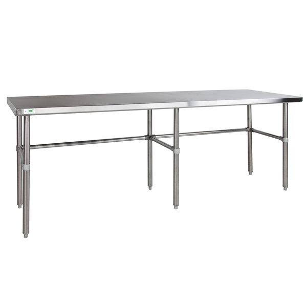 "Regency 30"" x 120"" 14-Gauge 304 Stainless Steel Commercial Open Base Work Table Main Image 1"