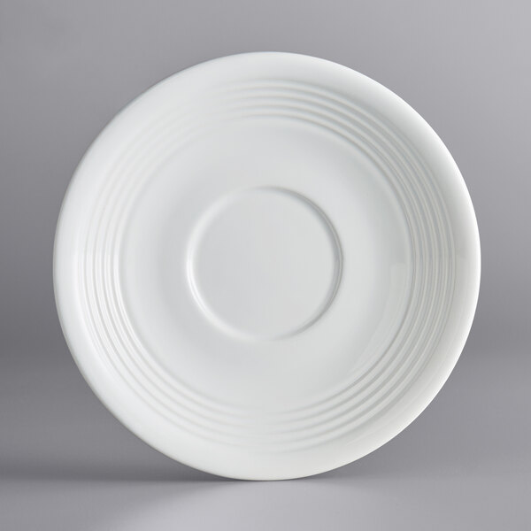 "Acopa Capri 6"" Coconut White China Saucer - 36/Case Main Image 1"