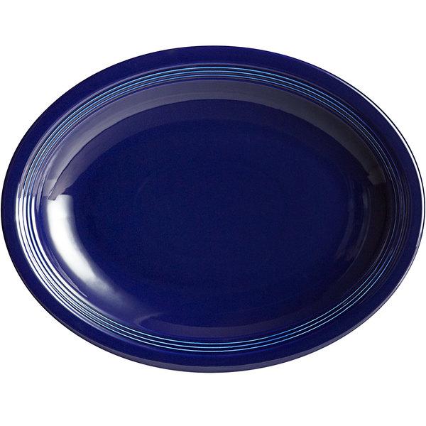 "Acopa Capri 13 3/4"" x 10 1/2"" Deep Sea Cobalt Oval China Coupe Platter - 12/Case Main Image 1"