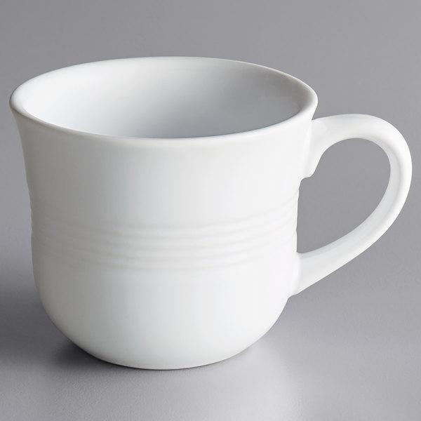 Acopa Capri 8 oz. Coconut White China Cup - 36/Case Main Image 1