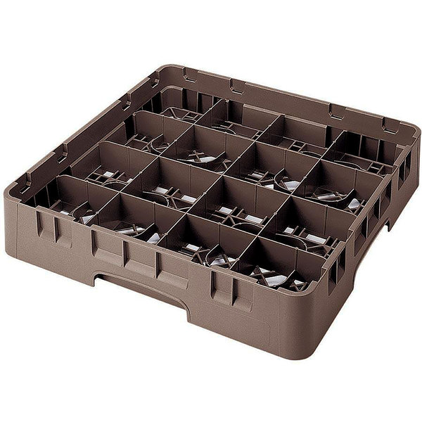 "Cambro 16S1214167 Camrack 12 5/8"" High Customizable Brown 16 Compartment Glass Rack"