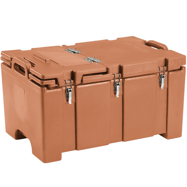 "Cambro 100MPCHL157 Camcarrier Tan Top loading Pan Carrier with Hinged Lid for 12"" x 20"" Food Pans"