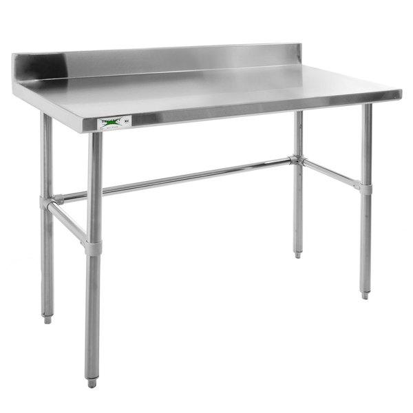 "Regency 24"" x 48"" 14-Gauge 304 Stainless Steel Commercial Open Base Work Table with 4"" Backsplash Main Image 1"