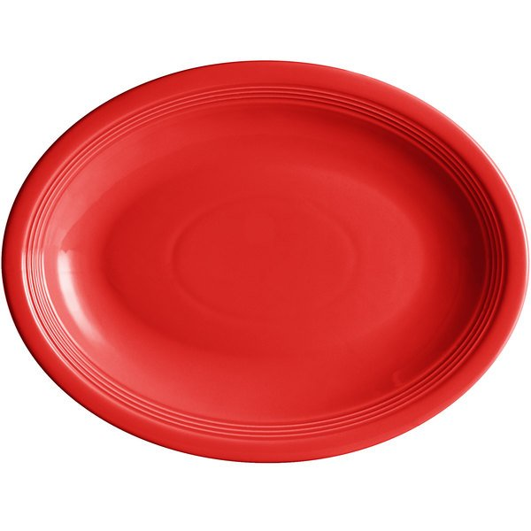 "Acopa Capri 13 3/4"" x 10 1/2"" Passion Fruit Red Oval China Coupe Platter - 12/Case Main Image 1"