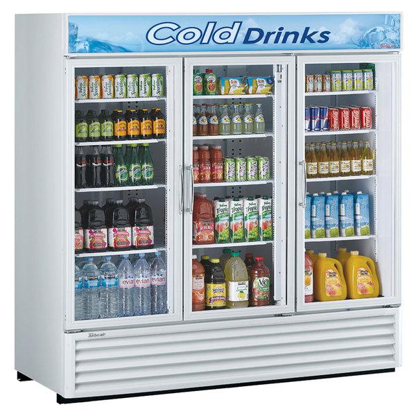 "Turbo Air TGM-72RS-N 78"" White Three Section Glass Door Merchandising Refrigerator Main Image 1"
