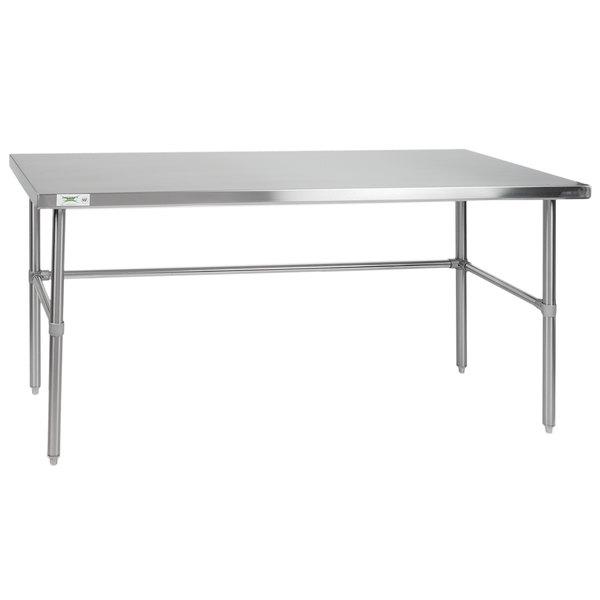 "Regency 24"" x 72"" 14-Gauge 304 Stainless Steel Commercial Open Base Work Table Main Image 1"