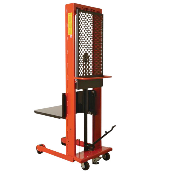"Wesco Industrial Products 260039 Standard Series 1000 lb. Hydraulic Large Platform Stacker with 32"" x 30"" Platform and 68"" Lift Height Main Image 1"