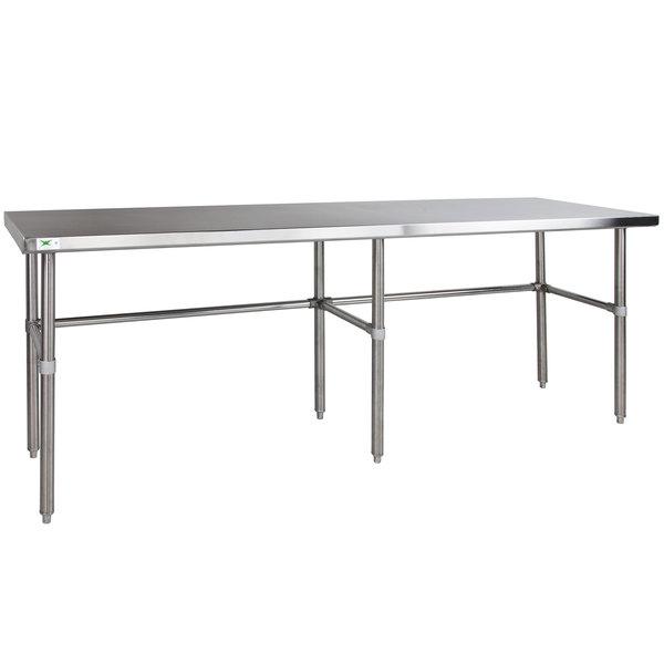 "Regency 24"" x 108"" 14-Gauge 304 Stainless Steel Commercial Open Base Work Table Main Image 1"