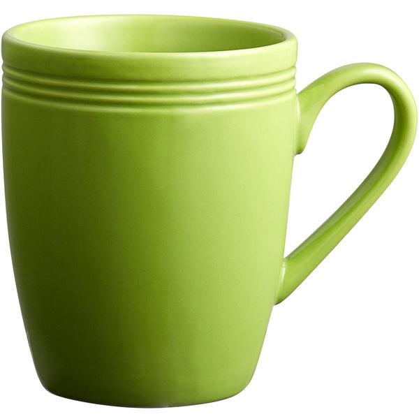 Acopa Capri 12 oz. Bamboo Green China Mug - 24/Case Main Image 1