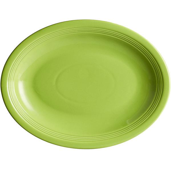 "Acopa Capri 13 3/4"" x 10 1/2"" Bamboo Green Oval China Coupe Platter - 12/Case Main Image 1"
