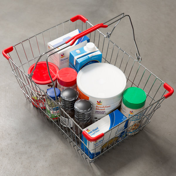 """18"""" x 13"""" x 8"""" Chrome Grocery Market Shopping Basket with Red Handles"""