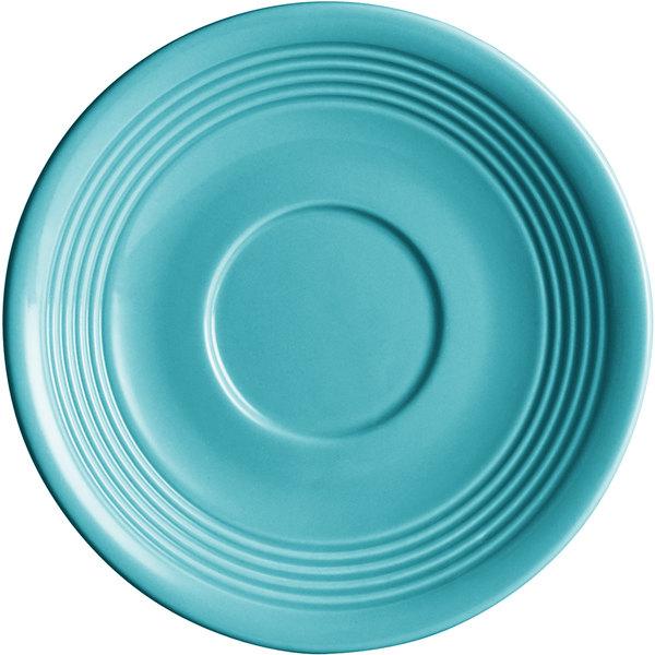 "Acopa Capri 6"" Caribbean Turquoise China Saucer - 36/Case Main Image 1"