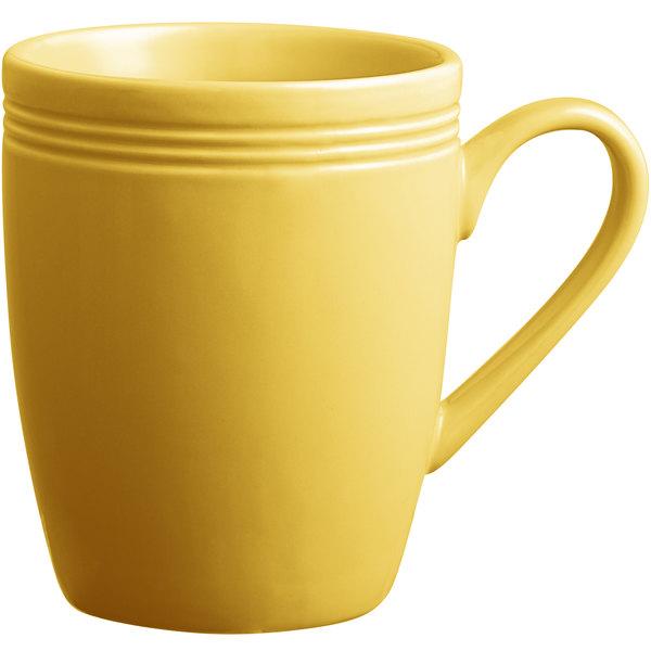 Acopa Capri 12 oz. Citrus Yellow China Mug - 24/Case Main Image 1